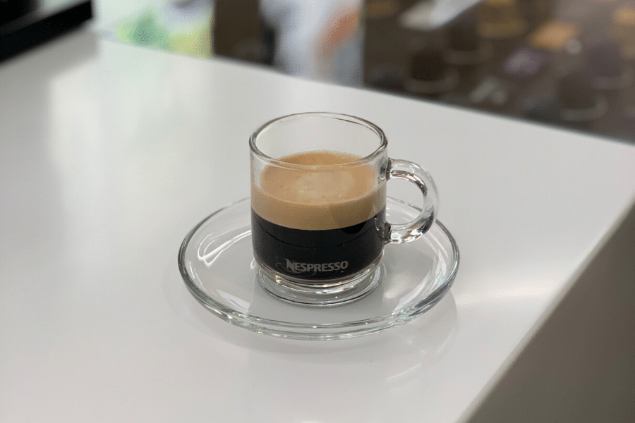 Nespresso coffee with foam